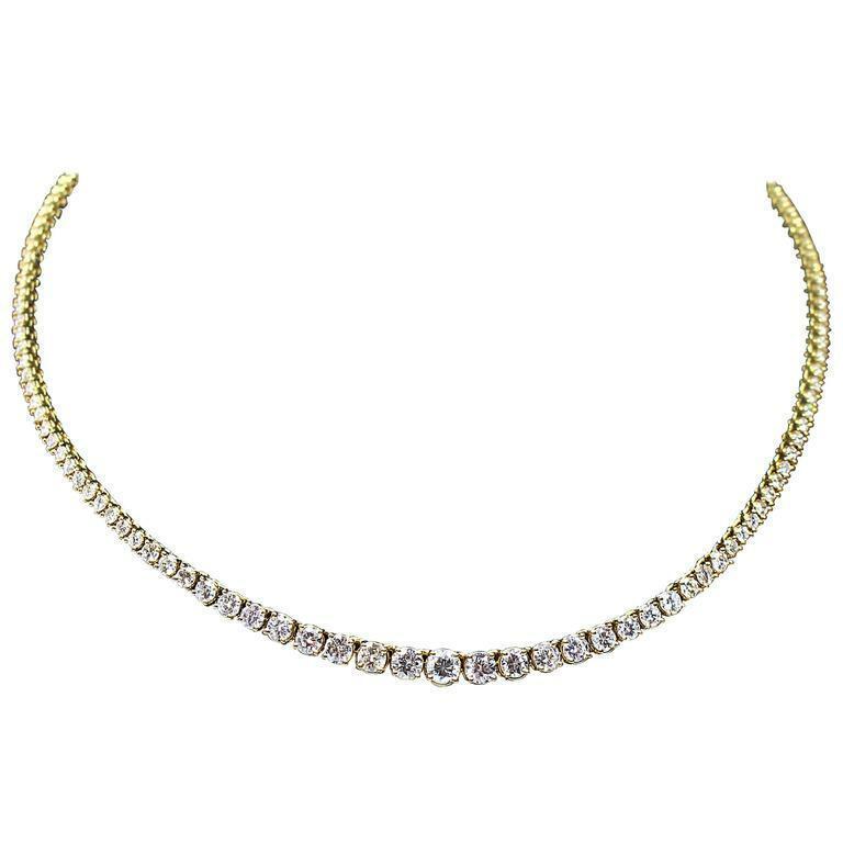 DIAMOND Round Cut Line Necklace 18 Karat Yellow Gold