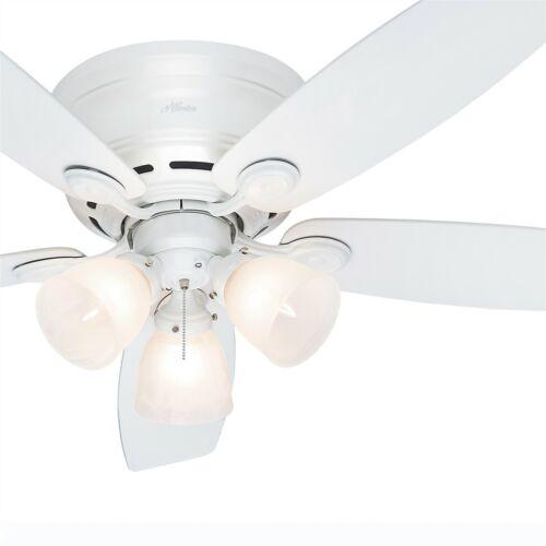 Hunter Fan 52 inch Low Profile White Indoor Ceiling Fan with Light Kit
