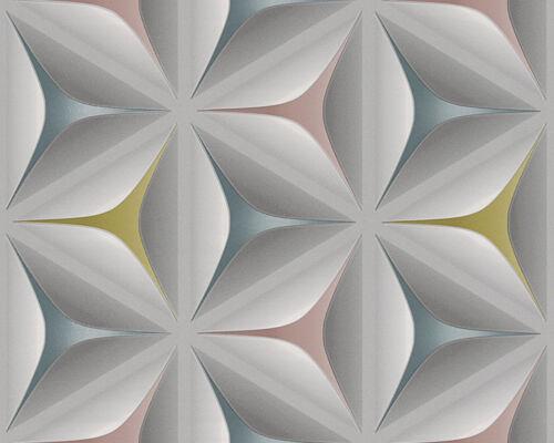 3D Geometric Wallpaper Retro Vintage Abstract Embossed Flower Grey Teal Olive