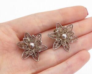 925-Sterling-Silver-Vintage-Filigree-Flower-Non-Pierce-Drop-Earrings-E9023