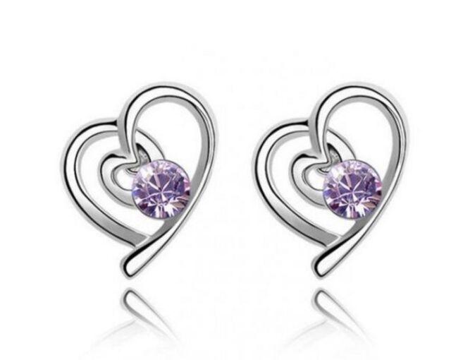 18k White Gold GP Simulated Amethyst Heart Stud Earrings E78