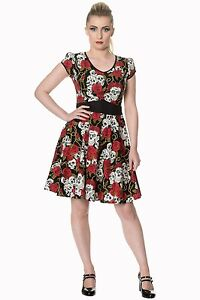 Women-039-s-Gothic-Skull-Roses-And-Thorns-Classic-Retro-Rockabilly-Flared-Dress-Goth