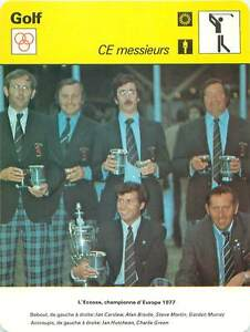 """FICHE CARD:1977 Ecosse Championne d'Europe Carslaw Brodie Martin Golfer GOLF 70s - France - Jeux Olympique Olympic GamesPORT EUROPE GRATUIT A PARTIR DE 4 OBJETSBUY 4 ITEMS AND EUROPE SHIPPING IS FREE FICHE FRANCE ANNEES 70s Murray Hutcheon Green Scotland ETAT VOIR PHOTO FORMAT 16 CM X 12 CM SIZE : 6.29 """" X 4.72 """" inch FICHE SPORTGOLF.1 - France"""