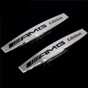 2-X-MERCEDES-AMG-SILVER-Side-Wing-Fender-Badge-Emblem-C-E-A-S-SL-SLK-CLASS