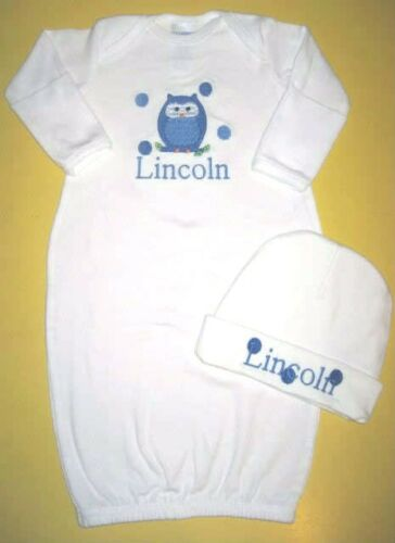 Personalized Baby Boy or Girl OWL SLEEPER Gown T Shirt /& HAT Outfit Gift SET