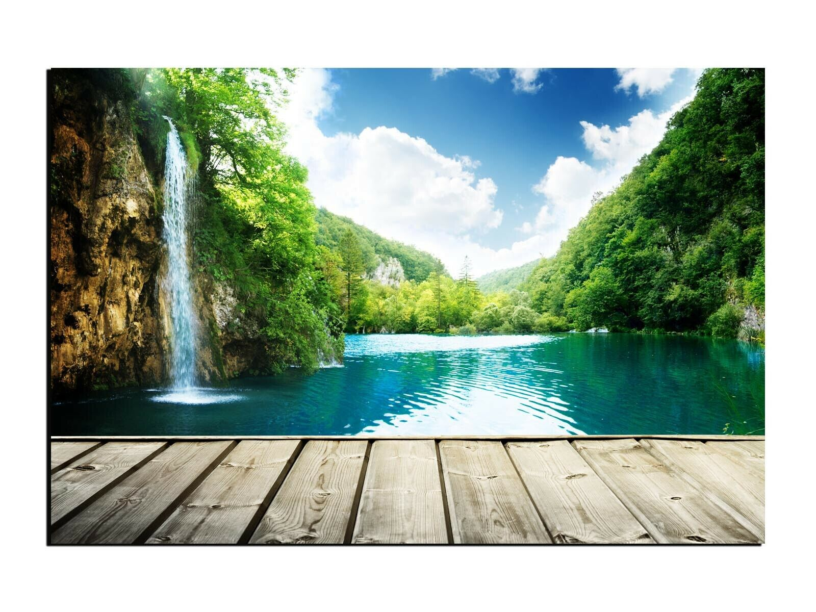 Alu-Dibond Wandbild Blick auf einen Wasserfall in den Tropen AB-668 Butlerfinish