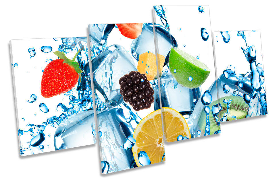 Fruit Water Splash Ice Cubes Kitchen MULTI CANVAS WALL ART Picture Print