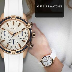 best quality various styles detailing Details about New Guess Women's White Silicone Strap Watch 35mm U0562L1