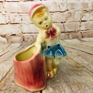 "Vtg 6"" SHAWNEE Art Pottery Boy on Stump Figurine Planter 533 USA Blue pinkish"