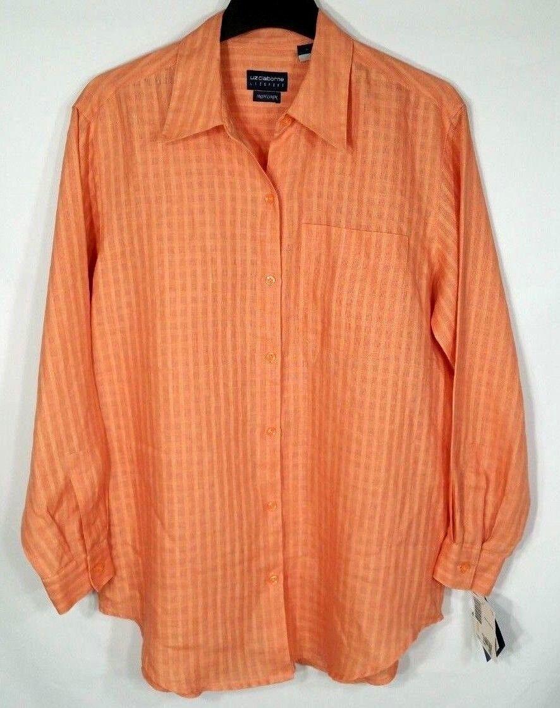 Liz Claiborne Irish Linen Blouse damen Größe Medium NWT  Orange Melon Button