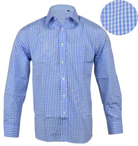 Mens Polycotton Check Long Sleeve Shirt Soft Work Casual M 5XL