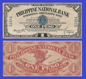 Philippines Filipina 1 pesos 1917 UNC Reproduction