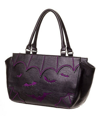 BANNED APPAREL BATS & SPIDER WEBS SALEM Tote HANDBAG BLK/PURPLE witch goth wings