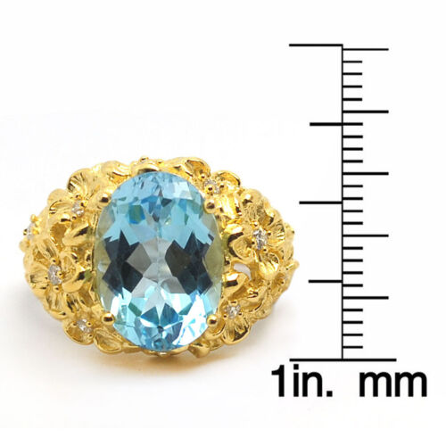 De Buman Two-tone 925 Silver 7.77ctw Sky Blue Topaz Flowers Surround Ring Size7