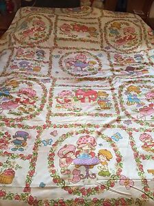 Image Is Loading Strawberry Shortcake Twin Flat Bed Sheet Vintage Quilting