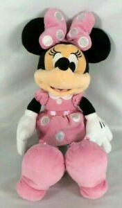 Disney-Parks-Minnie-Mouse-Pink-Polka-Dot-Plush-19-034-Stuffed-Soft-Doll-Toy