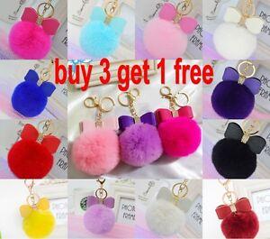 18 colors Rabbit Fur Pom-pom Key Chain Bag Charm Fluffy Puff Ball ... f9e872433d628