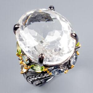 Vintage35ct-Natural-Quartz-925-Sterling-Silver-Ring-Size-9-R119626