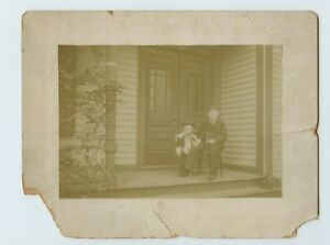 Vintage Photo 9 x 7 Cabinet Card Old Man & Young Boy in bull fighting costume