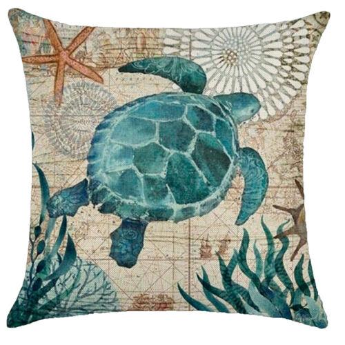"""18/""""Marine Ocean Animal Cotton Linen Pillow Case Throw Cushion Cover Home Decor"""