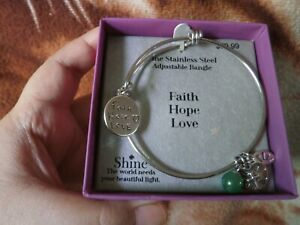 CLOSEOUT-SALE-From-USA-59-99-Stainless-Steel-Adjustable-Bangle-Faith-Love-Hope