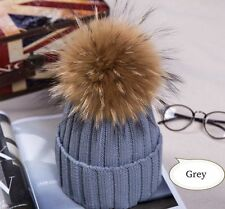 2018Hot Women Winter Racoon Fur Pom Pom 18cm Ball Knit Beanie Ski Cap Bobble Hat
