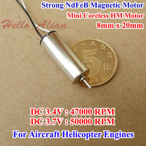 DC 3.7V 50000RPM 8*20mm Alta Velocidad Magnético Mini Coreless Motor para helicóptero