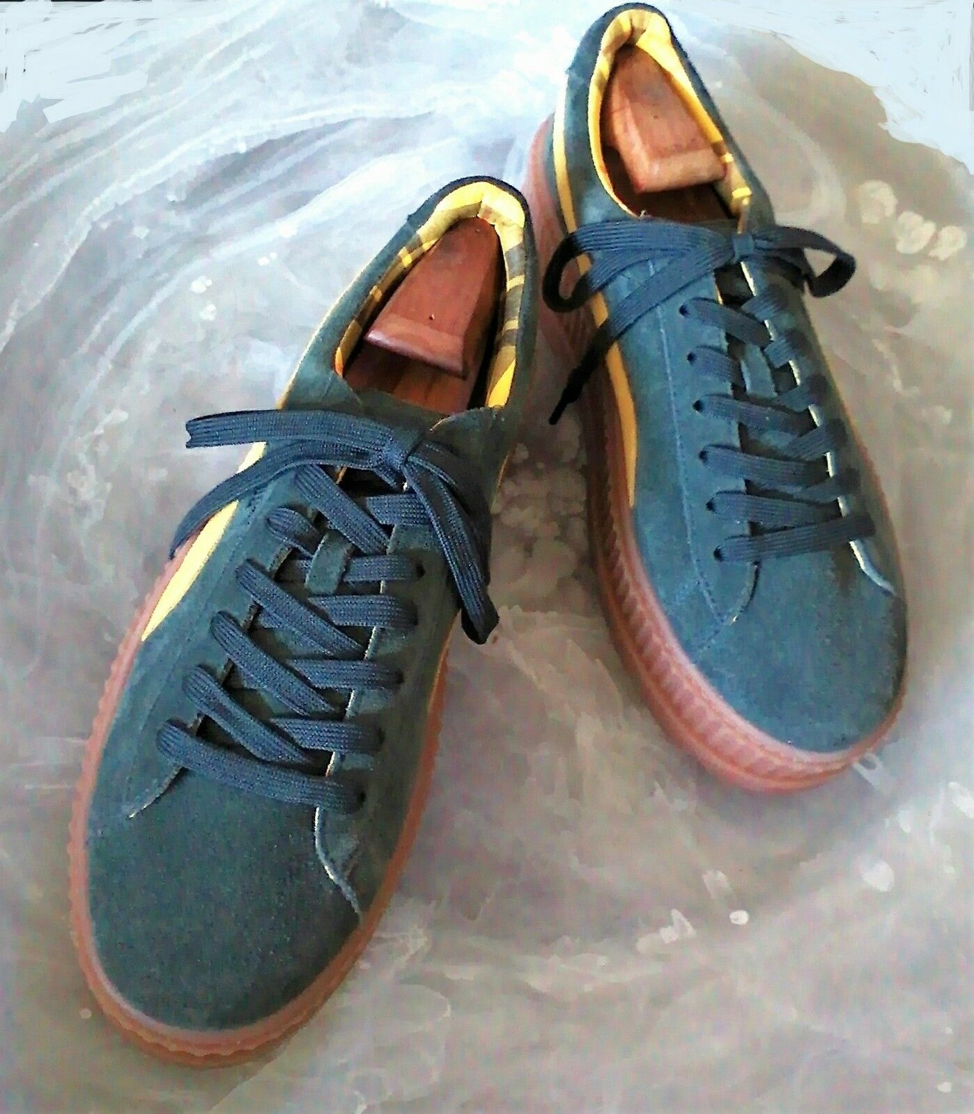 FENTY by Rihanna x PUMA Men's 11 M Green Yellow Suede Platform Creepers Sneakers