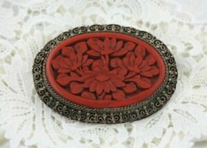 Vintage-China-Export-Silver-on-Copper-Filigree-Carved-Peony-Cinnabar-Brooch-Pin