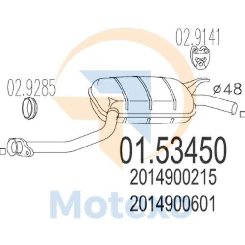 MTS 01.53450 Exhaust MERCEDES 190 2.0 E 122bhp 01//84-02//91