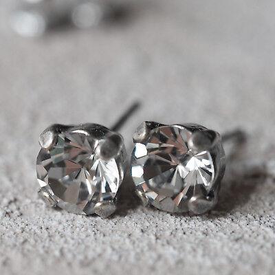 Nuovo In Acciaio Inox Orecchini A Bottone 6mm Swarovski Pietre Shadow Crystal/chiaro Orecchini-mostra Il Titolo Originale