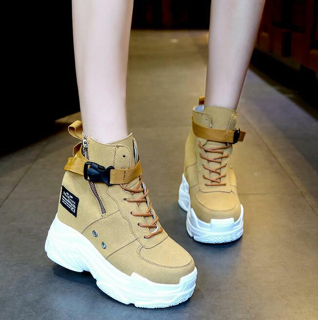 Womens Platform Wedge Chic Sneaker High Heel Sport Ankle Boots Creepers Shoes Nw