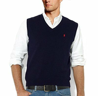 Polo Ralph Lauren Mens V Neck Pima Italian Cotton Knit Pony Logo Sweater Vest