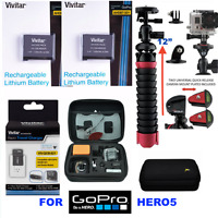 Battery For Gopro Hd Hero5 Black X2 Aabat-001 + Charger + Hard Case + 12 Tripod