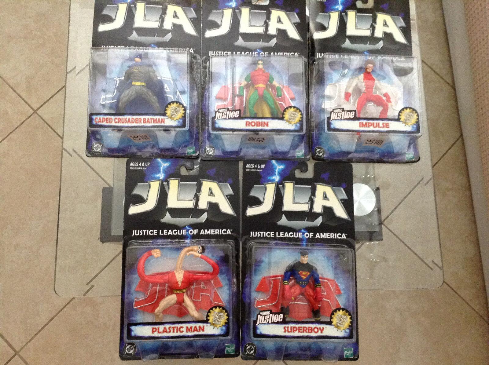 JLA FIGURE SET OF 5 DC KENNER OPENED SUPERBOY ROBIN IMPULSE BATMAN PLASTIC MAN 1