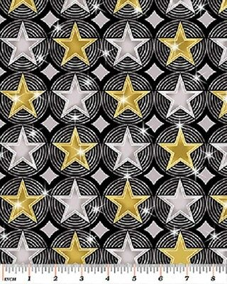 Hollywood Stars Fabric Silver Background Movie Awards Benartex 100/% Cotton OOP