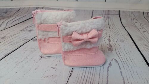 "Pink and White Boots with Bows fits American Girl Dolls /& 18/"" Dolls"