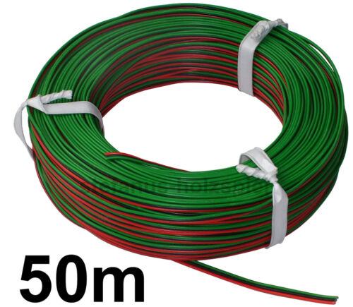 50 M!! Toron 3 conducteurs 0,50 €//M Rouge//Noir//Vert maquettes-Câble à ROCO-Douce