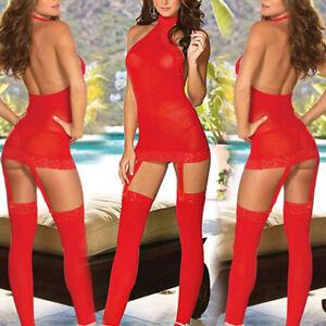Women-Lace-Sexy-Sissy-Lingerie-Babydoll-G-String-Thong-Nightwear-Underwear