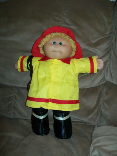 """RED FIRE FIGHTER SET SHIRT PANTS HAT COAT BOOTS/""""HOSE/"""" for 16/"""" CPK Cabbage Patch"""