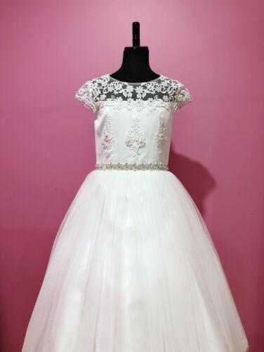Chantel159-New WHITE Satin Tulle Communion Dress Flower Girl Dress size 6-14.