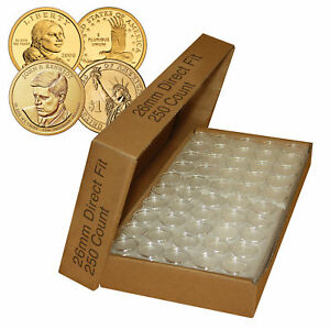 250-Direct-Fit-Airtight-26mm-Coin-Holder-Capsules-For-PRESIDENTIAL-1-SACAGAWEA