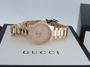 3e2852eec37 NEW Gucci G-Timeless Small Pink Gold PVD Swiss Quartz Women s Watch ...