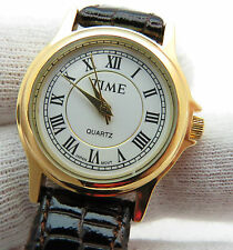 TIME, Roman Numeral White Dial, Brown Leather Band, Sharp, LADY'S WATCH, 62 L@@K