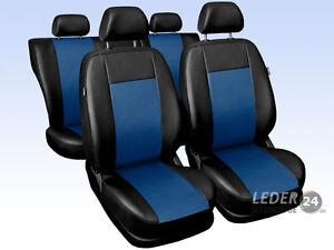 Opel-Mokka-Coche-Fundas-De-Asiento-Cuero-Artificial-Universal-Negro-Azul