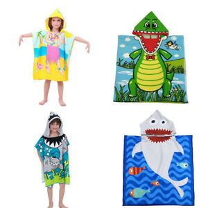 Toddler-Hooded-Beach-Bath-Towel-Shark-Soft-Swim-Pool-Cape-Cartoon-Bath-Robe