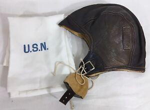 8d0c251d6e5 WWII US NAVY Leather Helmet NAF 1092 flight with USN Silk Pilot ...