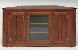 1998 Solid Wood Mission Oak Corner Tv Stand Ebay