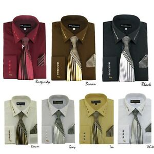 Milano-Moda-Men-039-s-French-Cuff-Dress-Shirt-with-Matching-Tie-And-Handkerchief