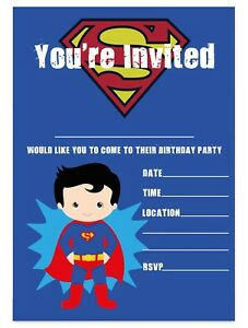 Image Is Loading SUPERMAN THEME BIRTHDAY PARTY INVITATIONS SUPERHERO INVITES CHILDREN